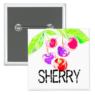 Custom color bright cherries baking bakery cooking 2 inch square button