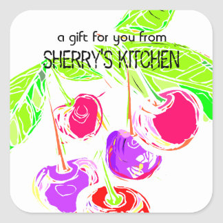 Custom color bright cherries baking bakery cooking square sticker