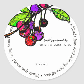 Custom color bright cherries baking bakery cooking classic round sticker