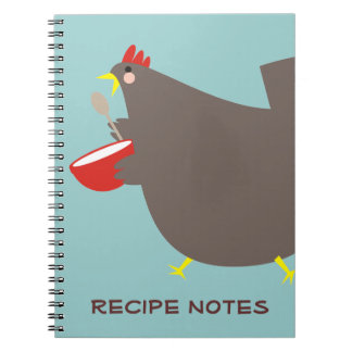 Custom color chicken mixing bowl cooking notebook