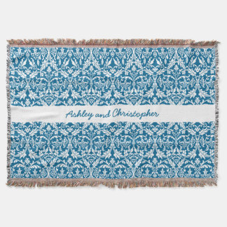 Custom Color Damask Pattern with Name A06 BLUE Throw Blanket