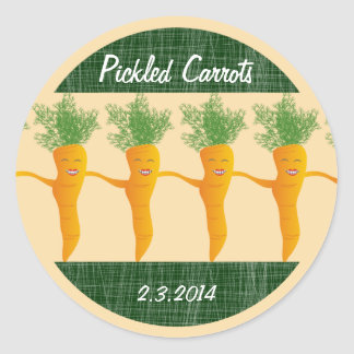 Custom color dancing carrots canning label round stickers
