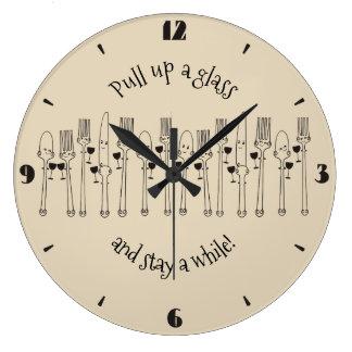 Custom color dinnerware wine bar kitchen clock