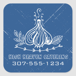 Custom color doodle garlic herbs chef catering square sticker