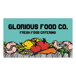 Custom color doodle shrimp veggies chef catering pack of standard business cards