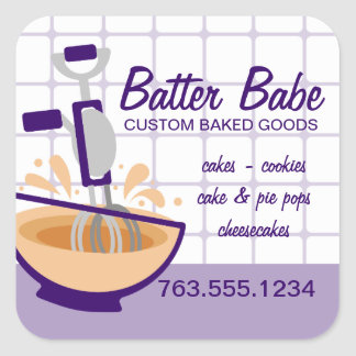 Custom color egg beater splashing batter bakery square sticker