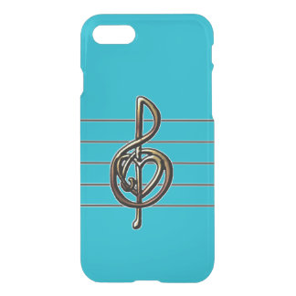 Custom Color Embossed Music Treble Clef and Heart iPhone 7 Case