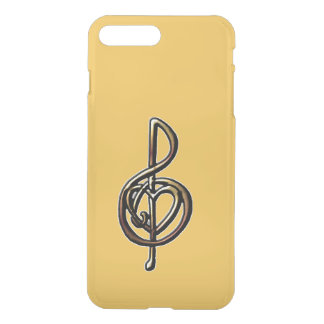 Custom Color Embossed Music Treble Clef and Heart iPhone 7 Plus Case