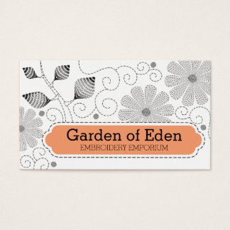 Custom color embroidery sewing stitches flowers business card
