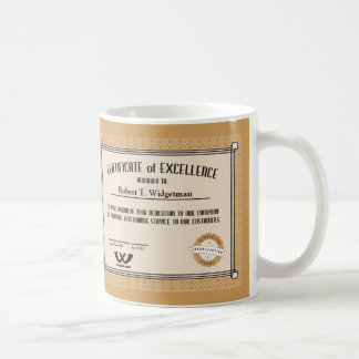 Custom color employee recognition excellence cert coffee mug