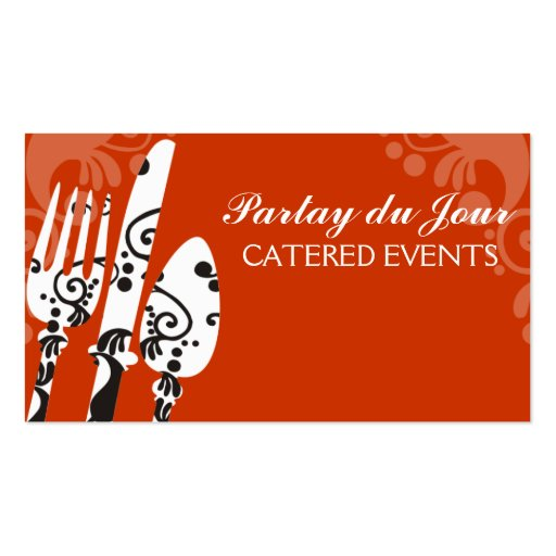 Custom colour fancy eating utensils chef catering zazzle for Catering business cards samples