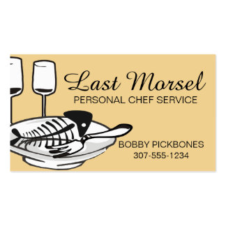 custom color fish bones plates chef catering Double-Sided standard business cards (Pack of 100)