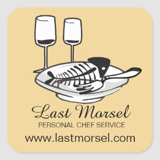 custom color fish bones plates chef catering square sticker