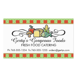 Custom color fish fruit vegetable chef catering business card templates