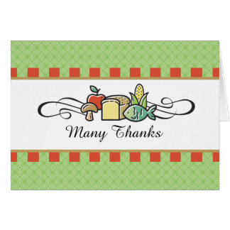Custom color fish fruit vegetable chef catering greeting card