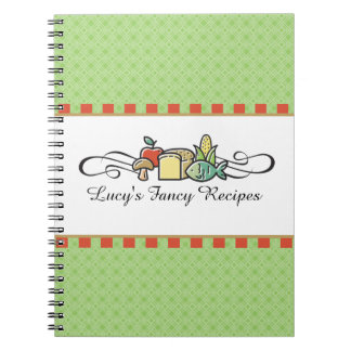 Custom color fish fruit vegetable chef catering spiral notebook