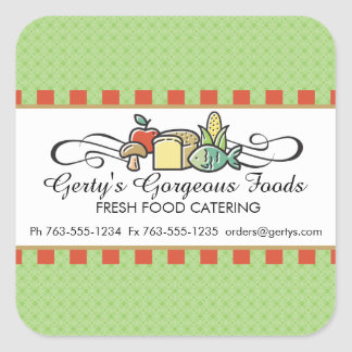 Custom color fish fruit vegetable chef catering square sticker