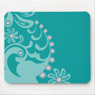 Custom color flourish diamond studs girly bling mouse pad