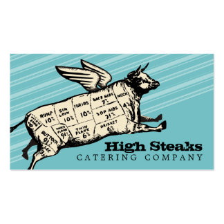 custom color flying cow beef cuts chef catering pack of standard business cards