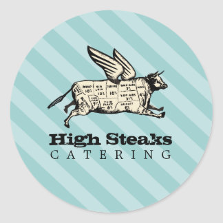 custom color flying cow beef cuts chef catering round sticker