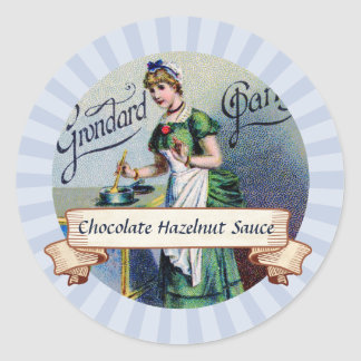 custom color French chocolate woman canning label Round Sticker