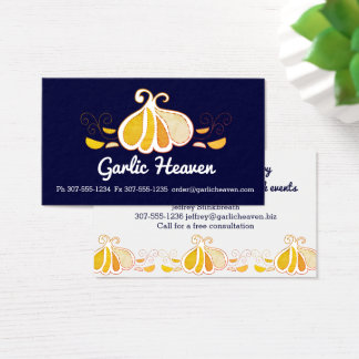 Custom color garlic chef catering business card