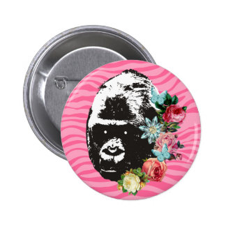 Custom color girly gorilla vintage flowers jewel pinback button