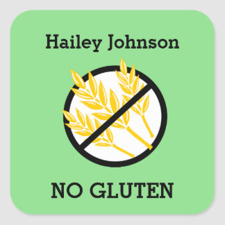 Custom Color Gluten Wheat Celiac Personalized Kids Square Sticker