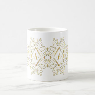 custom color gold a initial coffee mug