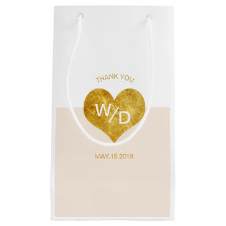 Custom Color Gold Heart Minimalist Gift Bag