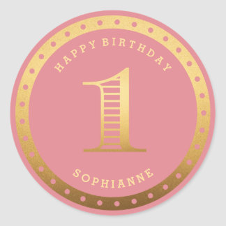 Custom Color Gold Pink First Birthday Stickers