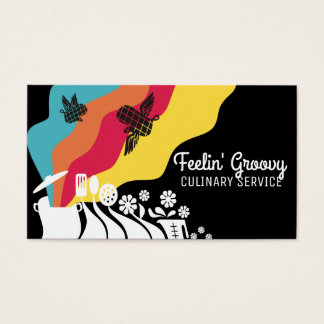 Custom color groovy utensils chef catering card