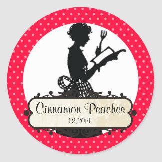 custom color housewife cookbook canning label round sticker