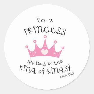 Custom Color I m a Princess Crown Design Round Sticker