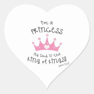 Custom Color I m a Princess Crown Design Heart Stickers