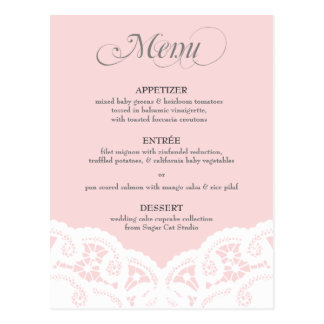 Custom Color Lace Doily Menu Postcard