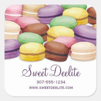Custom color macaroon meringue cookies bakery square sticker