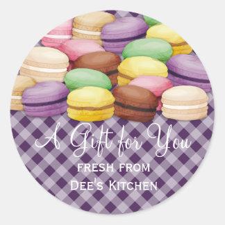 Custom color macaroon meringue cookies bakery round sticker