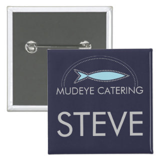 Custom color modern fish chef catering culinary 15 cm square badge