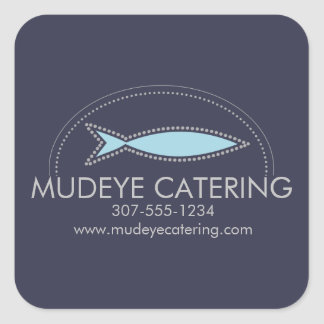 Custom color modern fish chef catering culinary square sticker