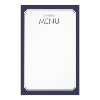 Custom color modern fish chef catering culinary stationery design