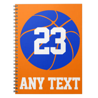 Custom Color, Name & Number Blue Basketball School Notebooks