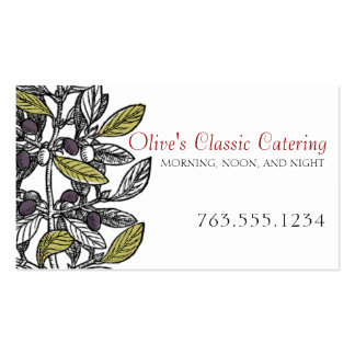 Custom color olive branch gourmet chef catering business card
