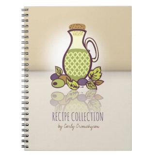Custom color olive oil cookbook recipe notebook