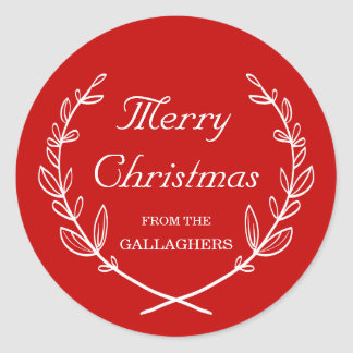Custom Color Personalized Laurel Holiday Sticker
