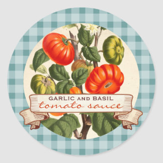 Custom color red sauce tomato canning label round sticker