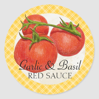 custom color red sauce tomato sauce canning label round sticker