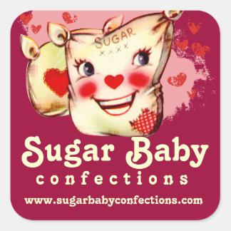 custom color retro sugar sack candy baking bakery sticker
