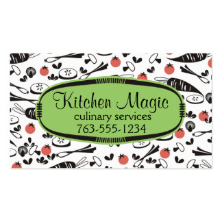 Custom color retro vegetables cooking chef card business cards