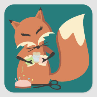 Custom color sewing notions fox gift tag